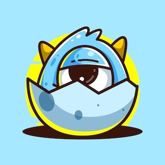 Monster in egg cute mascot illustration cartoon vector icon