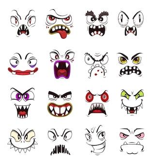 怖いモンスター顔絵文字漫画セット。ハロウィーンのホラーホラーモンスター、不気味な悪魔や悪魔、邪悪な吸血鬼、不気味な笑顔、歯と怒った目を持つ幽霊と獣
