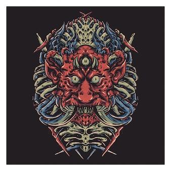 Monster face illustration