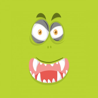 Monster face on lime green background