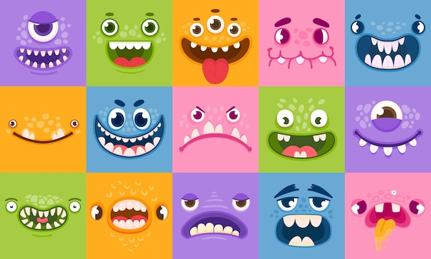 Monster faces. funny cartoon monsters heads, eyes and mouths. scary characters for kids. halloween monsters or aliens emotions vector set. devil cute head, halloween beast scary illustration
