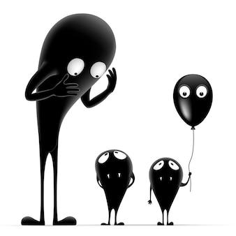 黒い風船を持つモンスターファミリー。3つのかわいい黒いモンスター。ハロウィンイラスト。