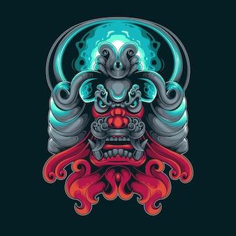 Monster fang ornament colorful illustration