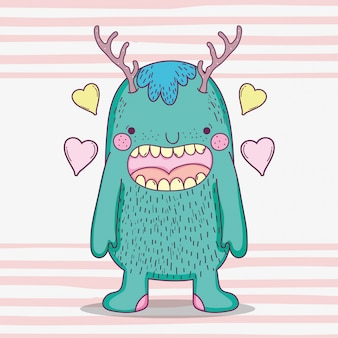 Monster fantastic creature with antlers and hearts
