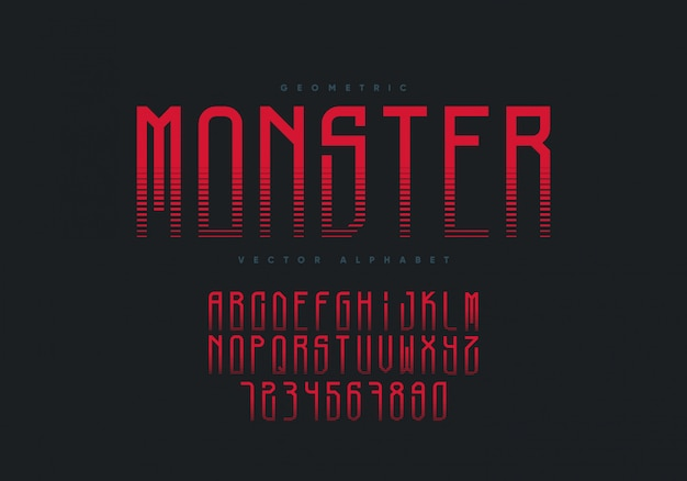 Monster font design. horror style geometric alphabet and numbers.