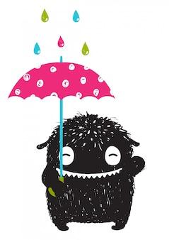 Детский монстр с зонтиком под разноцветными каплями дождя
