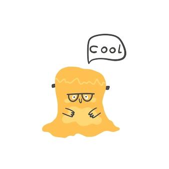 眼鏡をかけたモンスターフランケンシュタインのゼリーは、スカンジナビア風のクールなかわいい漫画のキャラクターを言います