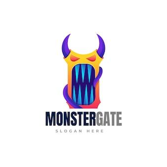 Monster gate gradient logo template