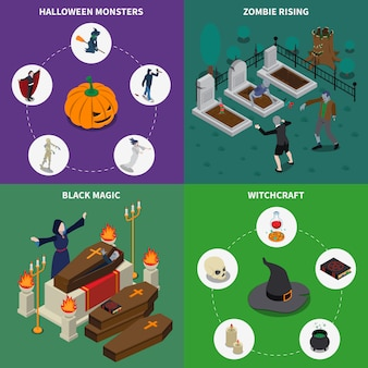 Monster halloween icon set