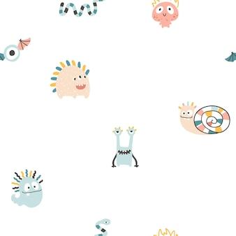 Monster halloween seamless pattern cute cartoon characters in scandinavian style