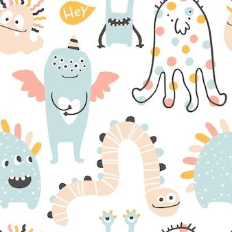 Monster halloween seamless pattern cute cartoon characters in simple scandinavian style