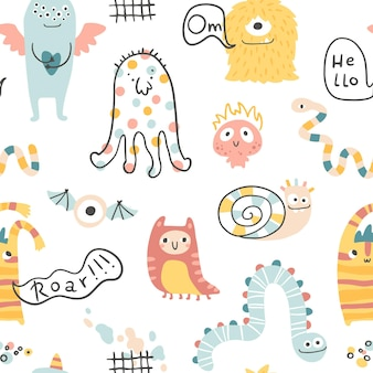 Monster halloween seamless pattern with lettering cute cartoon characters in scandinavian style