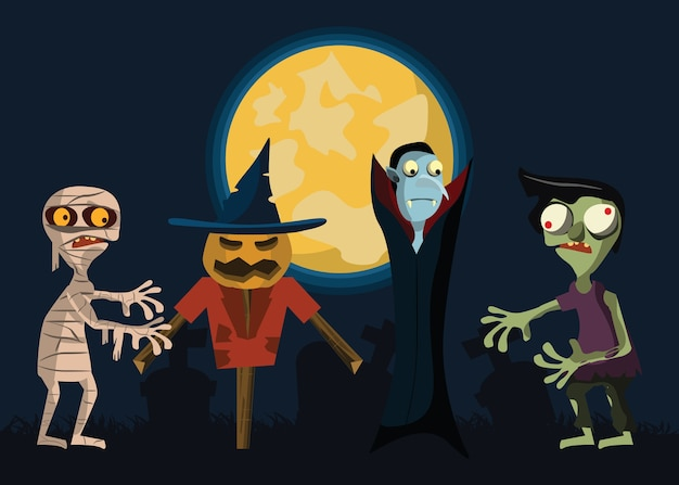 Monster in halloween vector illustration