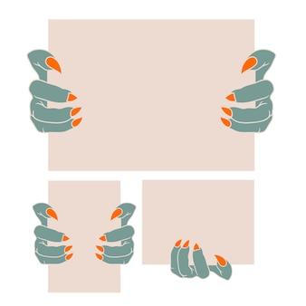 Монстр держат пустую бумагу, концепция векторной идеи