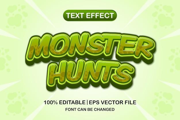 몬스터 사냥 3d 편집 가능한 텍스트 효과