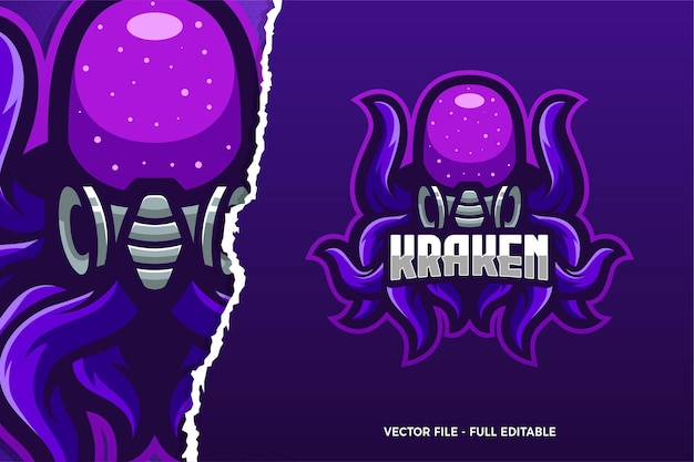 Шаблон логотипа игры monster kraken e-sport