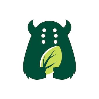괴물 잎 자연 자연 부정적인 공간 로고 벡터 아이콘 그림