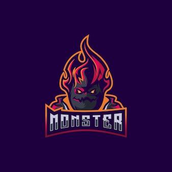 モンスターのロゴのデザインプレミアムベクトル