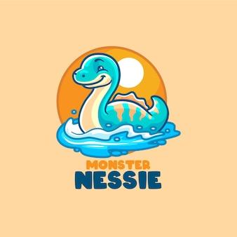 Шаблон логотипа мультфильм талисман монстр