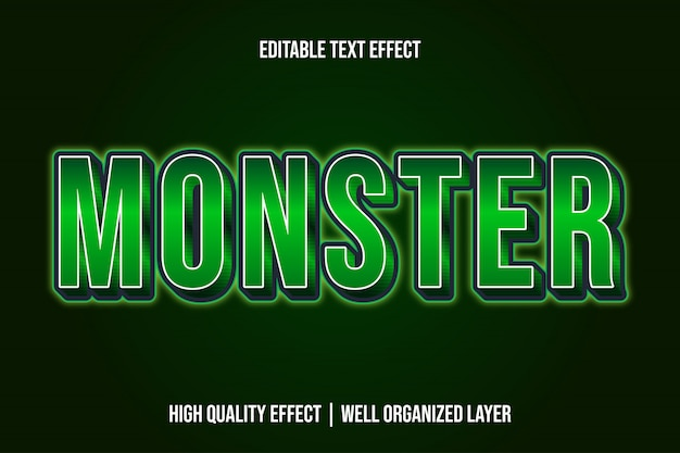 Monster, metallic editable text effect font style