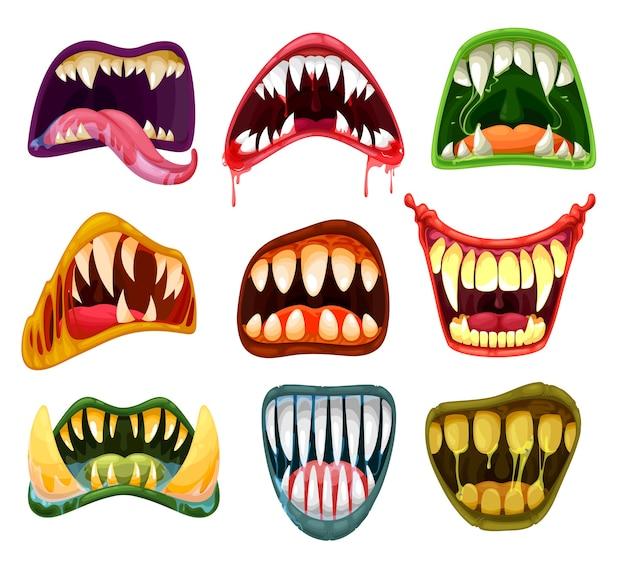 ハロウィーンの怖い獣のモンスターの口と歯の漫画セット。ホラーの笑顔、狂った笑い、舌、サルビア、血と不気味なエイリアンの牙、吸血鬼と悪魔、ドラキュラ、悪魔とゾンビ
