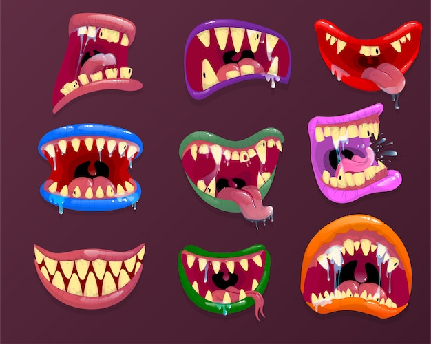 Monster mouths. scary facial expression, open mouth with tongue and drool.