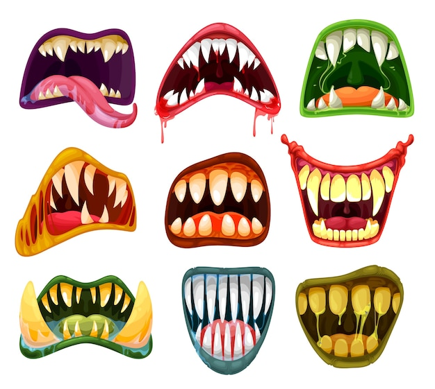 Monster mouths and teeth cartoon  set of halloween scary beasts. horror smiles, crazy laugh, tongues, salvia, blood and fangs of creepy alien, vampire and devil, dracula, demon and zombie