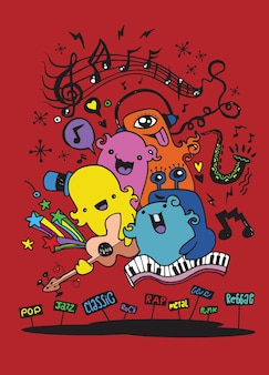 Monster music band playing music.doodle style