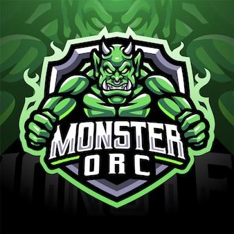 Monster orc esport дизайн логотипа талисмана