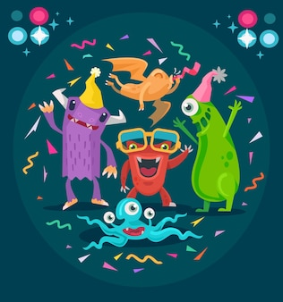 Monster in party, flat illustration