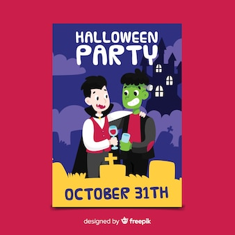 Monster party halloween flyer template