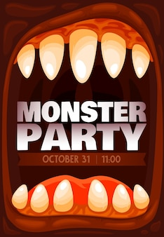 Monster party invitation, halloween zombie mouth
