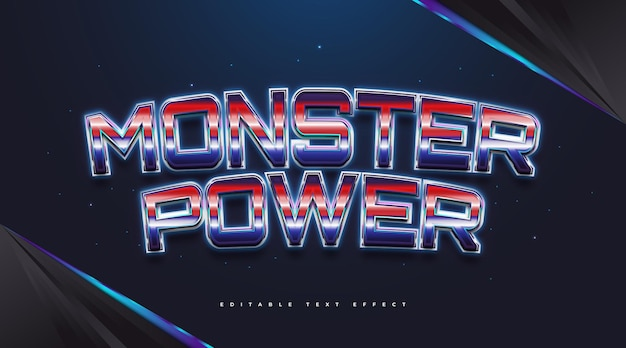 Monster power text in colorful retro style with glowing effect. editable text style effect
