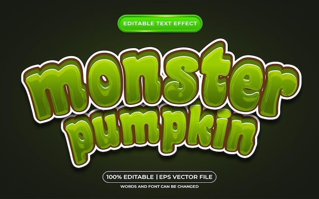 Monster pumpkin editable text style effect suitable for halloween event