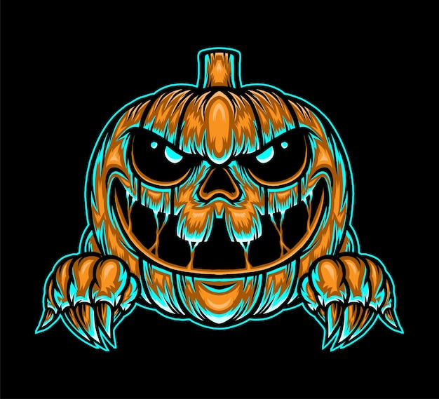 Monster pumpkin halloween illustration. premium vector