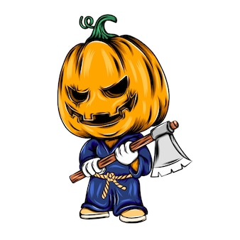 Monster pumpkin using the karate costume and holding the axe