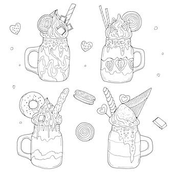Monster shakes. hand drawn   illustration. monochrome black and white ink sketch. line art. isolated
