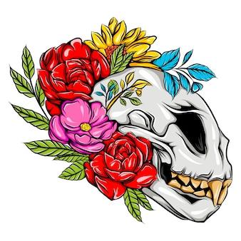 鋭い歯と色の花を持つモンスターの頭蓋骨