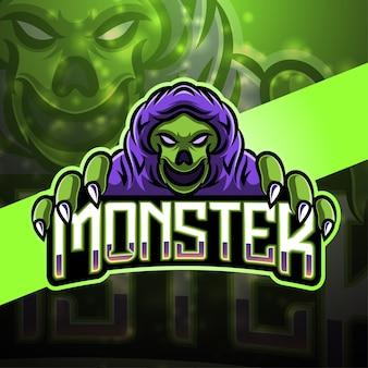 Дизайн логотипа талисмана monster sport