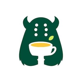 Monster tea leaf drink negative space logo vector icon illustration