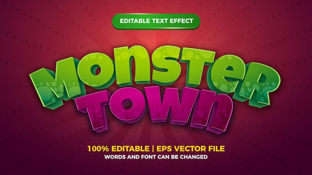 Monster town editable text effect cartoon comic game style