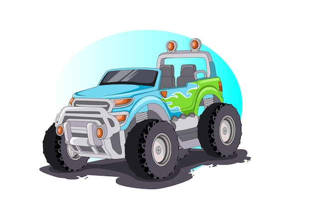 モンスタートラック車イラストベクトル