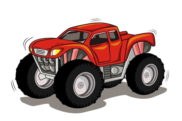 Monster truck  cartoon vehicle extreme show transport illustration