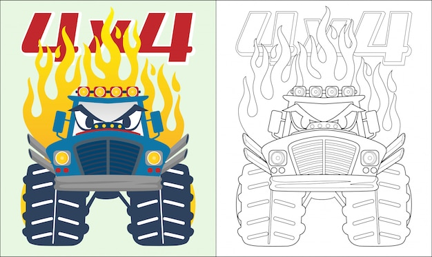 Monster truck cartoon with flame