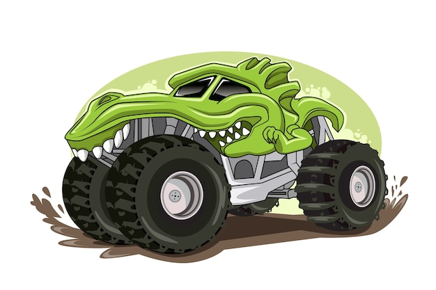 Monster truck character illustration vector