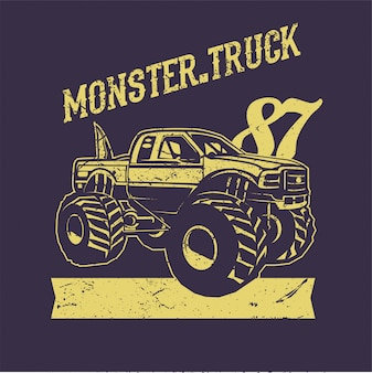 Monster truck hand drawing vector