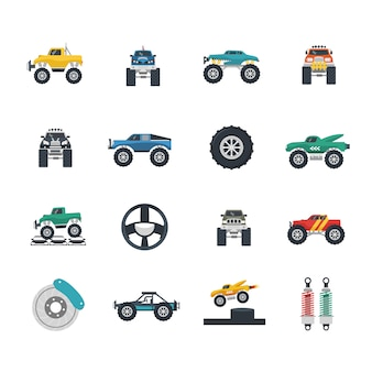 Monster truck icons set
