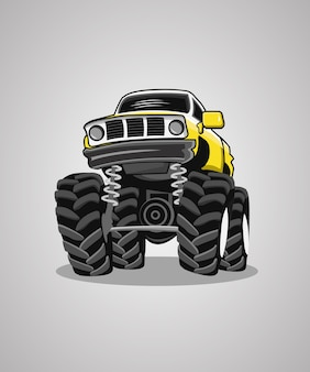 Monster truck illustration logo design