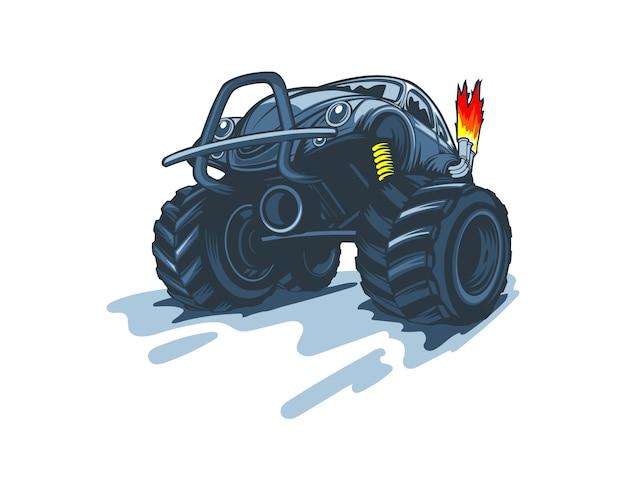 漫画のスタイルのモンスタートラック。