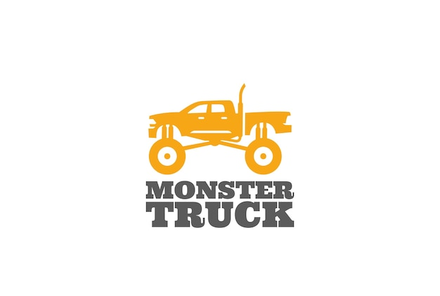 Monster truck logo isolated on white